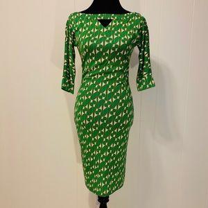 Abstract print silk dress